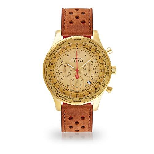 DETOMASO Firenze XXL Herren-Armbanduhr Chronograph Analog Quarz goldenes Edelstahlgehäuse goldenes Zifferblatt (Leder - Braun (Racing Style))