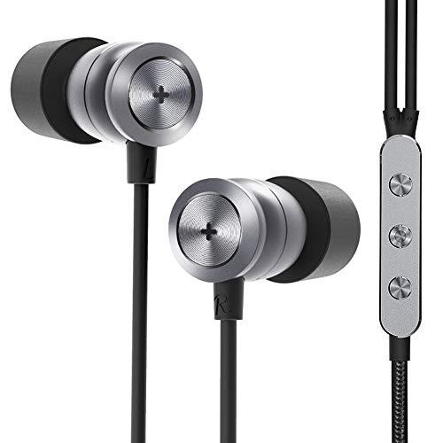 GGMM Ecouteurs Intra-Auriculaires HiFi, H300 Oreillettes Filaires Stéréo Anti-Bruit Haute Résolution Triple Drivers Casque avec Micro, Gris