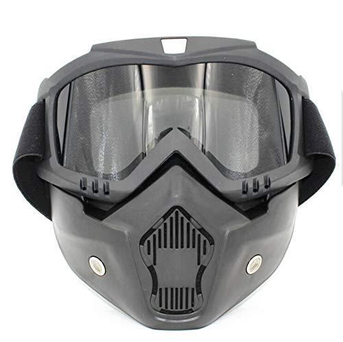Lafeil Sportbrille Fahrrad Damen Herren Retro Brille Lokomotive Maske Motorrad Helm Brille Brille Reiten Off Road Brille Grau