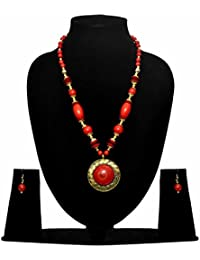 [Sponsored]Jaanvi Red And Golden Colour Beads Jewellery Set For Women