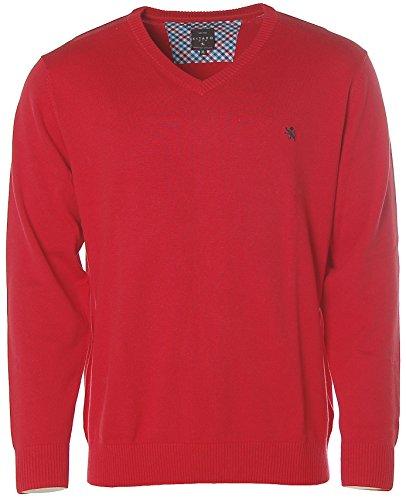 Kitaro Herren Pullover Strick V-Ausschnitt Brillant Cotton Rot