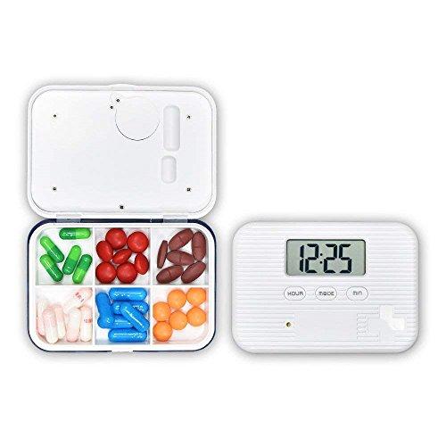 Wawer 6 Fächer Pill Box Alarm Pille Veranstalter, Mini Portable Tägliche Pille Fall mit Digital Wecker Erinnerung für Pillen/Vitamin / Ergänzungen Reise im Freien (Blau)