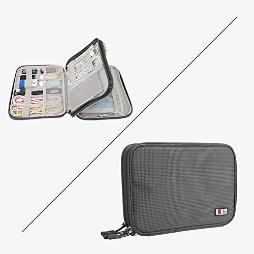 Doppelschichtige große Kapazität Elektronik-Zubehör Organizer Reisetasche Kabel Gadgets für iPad/Power Bank/Festplatte/USB/Adapter S grau