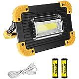 | A+ prot/ég/é contre les projections d/'eau Projecteur de chantier LED de Brandson noir-jaune IP44 2 niveaux dintensit/é | indicateur de charge 600 lumens 50/% et 100/%