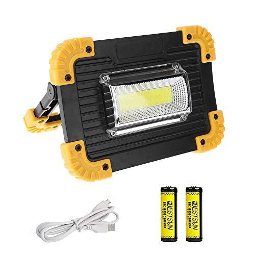 LED Campinglampe 20W, 1500 Lumen Superhell Wiederaufladbare Arbeitsleuchte, Baustrahler mit 3 Lichtmodi für Stromausfällen, Zelt, Camping, Notfall usw