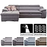 Cavadore Ecksofa Aniamo mit XL-Longchair links / Eckcouch mit Kopfteilfunktion im modernen Design / Sitzecke für Wohnzimmer / Größe: 270 x 80 x 165 cm (BxHxT) / Bezugsstoff in grau