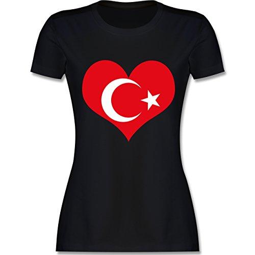 Shirtracer Länder - Türkei Herz - XL - Schwarz - L191 - Damen T-Shirt Rundhals (Die T-shirt Türkei Grünes)