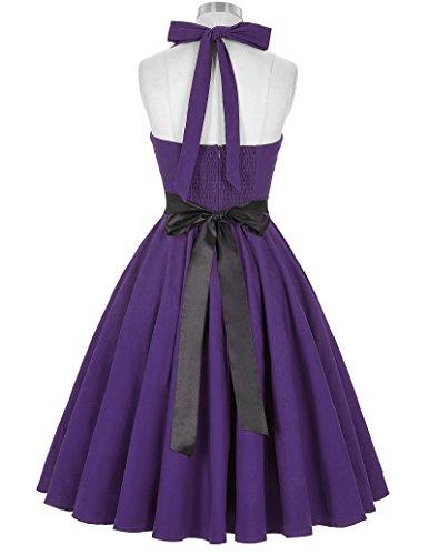 50s Retro Vintage Rockabilly Kleid Neckholder Festliches Kleid Petticoat Kleid CL8950-8(Violett)