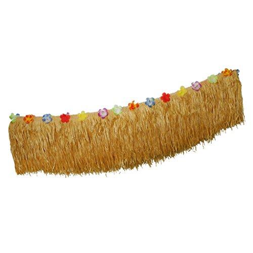 Gazechimp Hawaii Luau Tischröcke Gras Kunstrasen Tischröcke mit Hibiscus Blumen BBQ Tropischer Garten Strand Sommer Party - 275 x 30 cm, Hellbraun