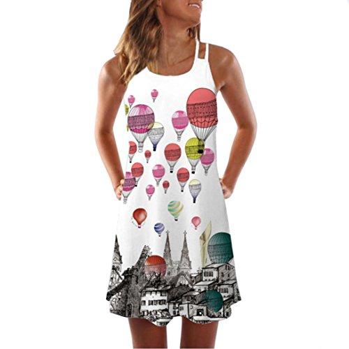 intage Boho Ärmelloses Sommerstrand Rundhals Rock Partykleid Minikleid 3D Blumendruck Tank Kleid ()