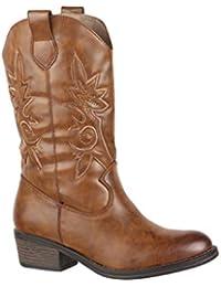Botines de vaquero con, aspecto de piel, cómodas, con tacón, y cierre