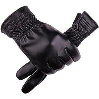 guantes moto hombre invierno impermeables guantes cuero artificial Sannysis guantes bicicleta hombre mtb guantes tácticos de pantalla táctil (C)