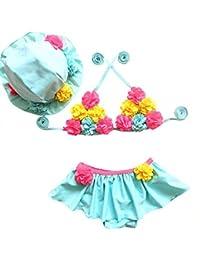 Moollyfox Bikini Niñas Traje de Baño de Dos Piezas Flores Bañador Agradable Tankini con Sombrero Conjunto Infantil para 1 - 8 Años Cielo Azul 100