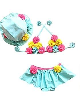 Moollyfox Costumi a Due Pezzi per Bambine e Ragazze Principessa Fiore Costume da Bagno con Cappello Cielo Blu 80