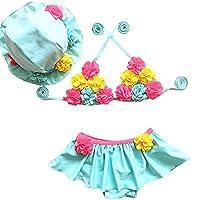 Moollyfox Bikini Niñas Traje de Baño de Dos Piezas Flores Bañador Agradable Tankini con Sombrero Conjunto Infantil para 1 - 8 Años Cielo Azul 80