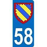 Autocollant 58 avec blason département de la Nièvre plaque immatriculation Auto (9,8 x 4,5 cm)