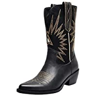 aznz Women Vintage Pointed Toe Slip On Cowboy Boots Embroidery Western Mid Heel Black Size 4 UK