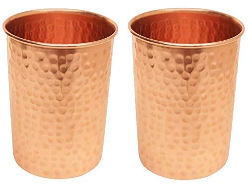 avador Set von 2Handarbeit 100% reines Kupfer Glas Drinkware gehämmert 16Oz Ayurveda Gesundheit Benefit Drinkware Gläser