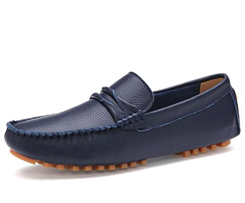 Loafers Peep Toe Leder Slip-ons Low Top rutschfeste Mode Bequeme Soft Soles Freizeit Casual Herrenschuhe EU Größe 39-44 Blue