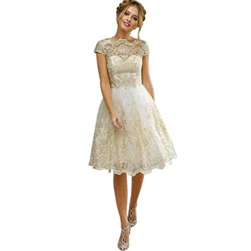 Damen Elegant Minikleid, Keepwin Vintage Stickerei Spitze Granatapfellikör Patchwork Partykleid Formales Ballkleid Brautjunferkleid für Frauen (S, Beige) (Formal Ballkleid Kleid)
