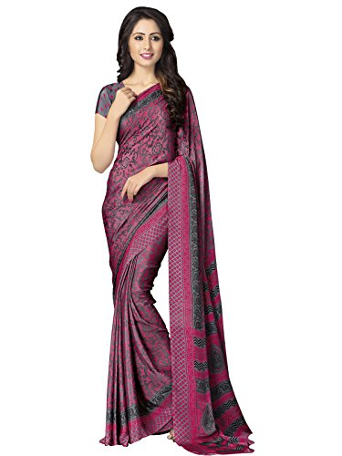 Kanchnar Women's Classic Printed Ethnic Casual Wear Indian Crepe Silk Saree With Matching Blouse