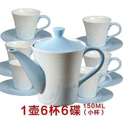 Keramik Tee-Set kreative Heimat Kaffeetasse Set Teller Löffel mit Regal Becher Porzellan Tasse 1 Topf 6 Tassen und Untertassen 150ml