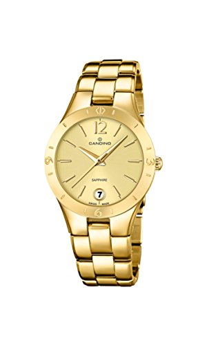 Candino Women's Quartz Watch with Gold Dial Analogue Display and Gold Stainless Steel Plated Bracelet C4577/2