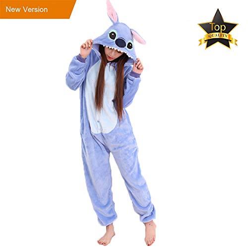 JunYito Pyjama Enfant Adulte Licorne Animal Costume Cosplay Deguisement Halloween pour Fille Garçon Femme Homme (M, Stitch adulte)