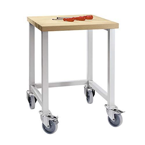 Werkbank kompakt, Buchemassivplatte - Breite 605 mm, ohne Unterbauten - fahrbar - Arbeitsplatz Arbeitstisch Montagetisch Werkbank Werktisch