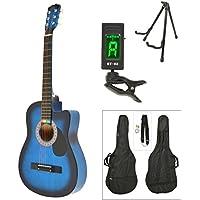 ts-ideen Western - Guitarra acústica, tamaño regular (4/4) con set de accesorios (bolso, cuerdas, afinador, soporte etc.), color azúl sunburst