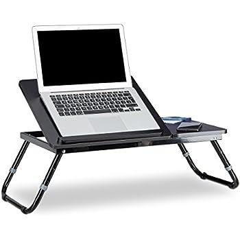 Relaxdays Laptoptisch Lapdesk Betttisch Betttablett Notebook-Tisch Beistelltisch Laptop BTH 60 cm x 35 cm x 24 cm Holz schwarz mit Leseklappe höhenverstellbar klappbar