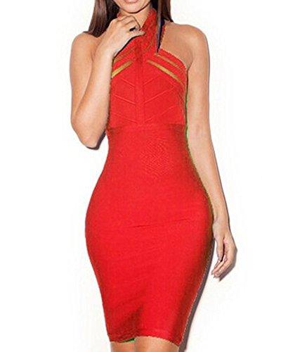 Whoinshop Damen Rayon Neckholder Bodycon Kleid Rückenfrei Cocktailkleid Elegante Partykleid Rot