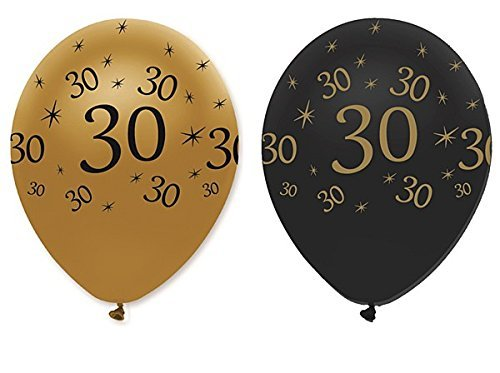 30th Birthday Black & Gold Balloons 6pk
