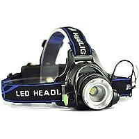 AFAITH Lampada Frontale da 1800 Lumens CREE XM-L T6 LED Con 3 Modalidà Di Luminosità 2 x Batteria 18650 Ricaricabile Torcia Da Testa Per Running, Camping, Bici, Auto, Moto, Sport- Interruttore anteriore SA007