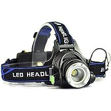 AFAITH Lámpara de cabeza, Ultra brillante de 2000 lúmenes CREE XM-L T6 LED de la linterna impermeable de Zoomable 3 modos faro recargable para ir de excursión acampar Escalada Ciclismo Pesca Luz de Seguridad SA007