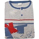 Mondo Blu - Pigiama 08-601 per ragazzo, 100% cotone interlock caldo cotone, manica lunga