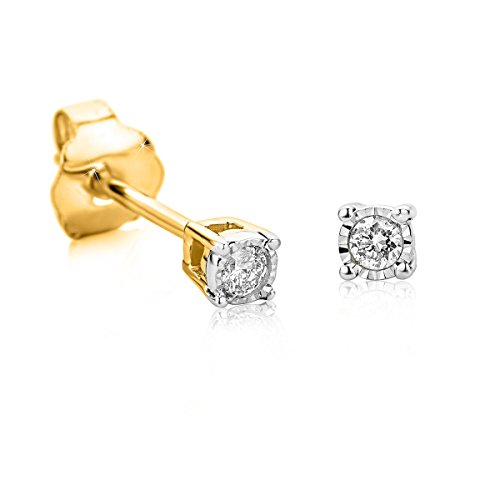Orovi pendientes de mujer presión solitario 0.05 Quilates diamantes en oro bicolor 9 kilates ley 375