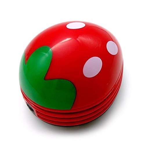 Garciasia Preciosa Forma de Fresa Teclado de Escritorio Aspiradora Mini recolector de Polvo Barredora de Migas para Uso doméstico de Oficina (Color: Rojo)