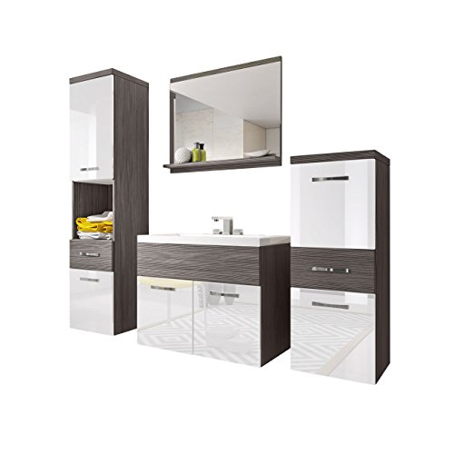 Badmöbel Set Bella I mit Waschbecken und Siphon, Modernes Badezimmer, Komplett, Spiegel, Waschtisch, Hochschrank, Hängeschrank Möbel (Bodega/Weiß Hochglanz) -