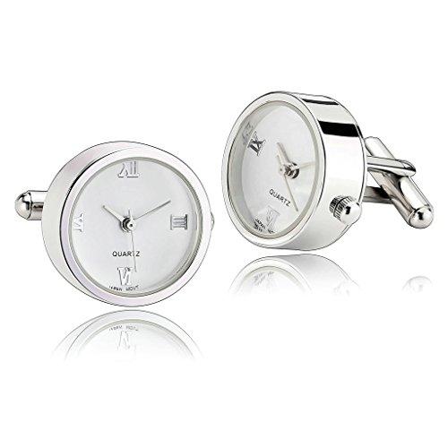 Adisaer Stainless Steel Cufflinks for Men Round Watch Silver Unique Business Wedding Cufflink