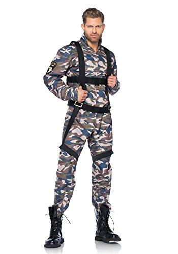 Kostüm Soldat Set (Leg Avenue 85279 - 2Tl. Kostüm Set Fallschirmjäger, Größe M, camo, Männer Karneval)