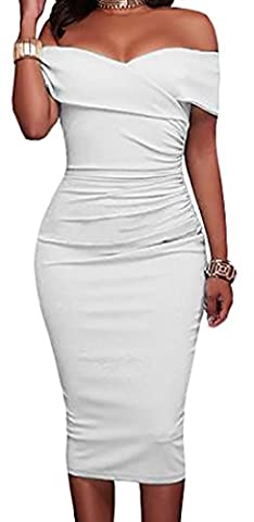 Fulok Womens Solid Off Shoulder Sexy Bodycon Party Pencil Dress M White