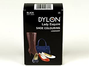Dylon 20Ml 15-Black Leather Dye Shoe Boot Handbag Belt Synthetic Waterproof Colour Die
