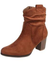 Cingant Woman Damen Stiefelette/Plateausohle/Hoher Blockabsatz/Halbhohe Stiefel/Damenschuhe/Boots/Schwarz, EU 37