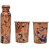 OBBI Handmade Morden Art Print Pure Copper Water Bottle With Glass Set For Home And Office | 900ml(Print May Vary)
