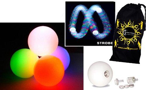 3x Glow Jonglierbälle Leuchtend, LED Jonglierbälle 3er Set - Profi LED bälle+ Reisetasche! schnell STROBE