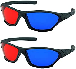 2 Pieces HONY Red and Blue 3D Glasses Anaglyph for 3D Movie for Laptop and Mobile, Game DVD Green Frame