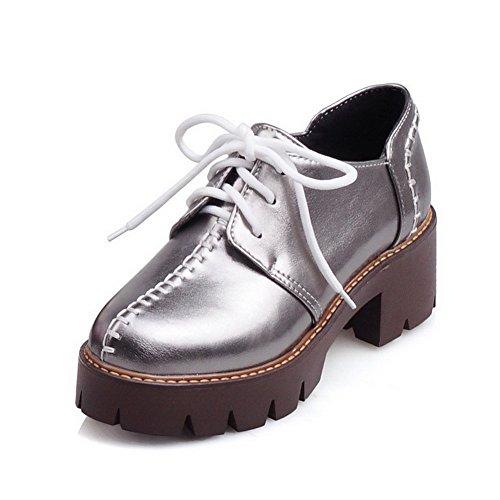 VogueZone009 Femme Lacet Pu Cuir Rond à Talon Correct Couleur Unie Chaussures Légeres Gris