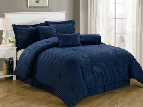 Chezmoi Collection 7-Piece Dobby Stripe Comforter Set, Queen, Navy Blue by Chezmoi Collection -