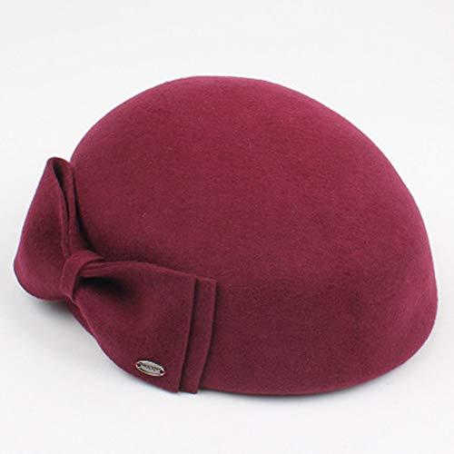 Der Hut der Frauen koreanische Version des Woolen Bogen-Barett-Mode-Wilden britischen Maler-Hutes Hut (Farbe : Rot)